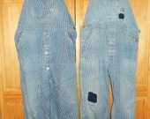 1930s Authentic Antique Lee  Union Made Denim Railroad Overalls-1 pair left, the 1 on right side with patches