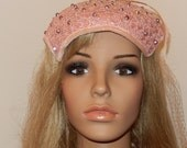 Sweet Vintage 40s Pink Ladies hat with beaded rhinestone accent