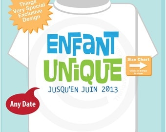 Only Child in French Enfant Unique Shirt or Onesie Bodysuit, Infant, Toddler or Youth Tee Shirt Blue and Green Text t-shirt (10122012d)