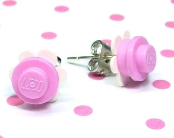 Crazy Daisy Stud Earrings made from LEGO® Pieces - Light Pink and White