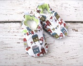 SALE Organic Vegan Fox in the Henhouse  All Fabric Soft Sole Baby Shoes / Made to Order / Babies Chicken