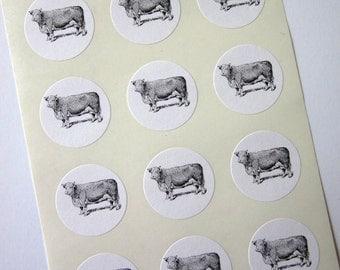 Cow Stickers One Inch Round Seals