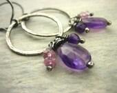Purple amethyst artisan gemstone pink quartz infinity circle hoop Sterling Silver Earrings hammered hoop february birthstone Gray Oxidized