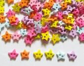 100 pcs -   Cute Star button 2 hole   - mix pastel color