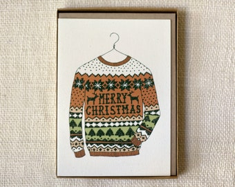 Sale 50% Off - Holiday Card Set of 6 - Ugly Sweater