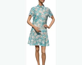 Vintage 1960s Mini Dress - Turquoise Lace