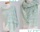 DIY Crochet Kit, Crochet shawl kit, SILVER, Mint Green, yarn and pattern