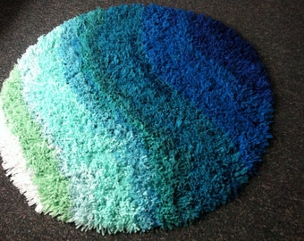 Blue/Green Blended Shag Rug SALE
