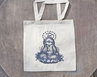 Meditating Sloth / Om / Yoga inspired pastel Design / Natural Unbleached Cotton Tote / Spring Gifts