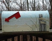 Hand Painted Sand Dunes and Pilings on the Beach Mailbox, Christmas gift,Housewarming gift