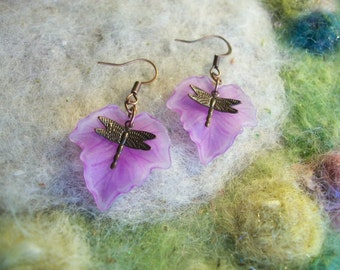 Garden Dragonfly Earrings, Lavender Leaf