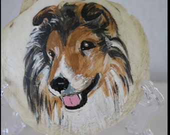 Collie Painting on a Seashell
