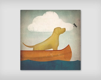 YELLOW DOG Lab Retriever (Black, Brown, and Red too) Archival Pigment on Canvas Panel  SIGNED Ready-to-Hang Wall Art Labrador
