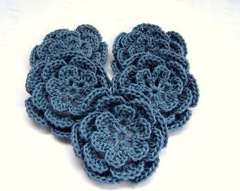 Appliques flowers  2.5inch cotton set of 5 blue