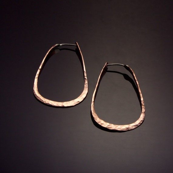 copper teardrop hoop earrings medium by mostlysweetjewelry