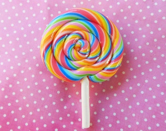 polymer clay rainbow swirly lollipop magnet