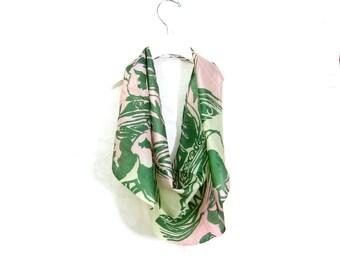 Tropical Silk Scarf Sari Silk Infinity Scarf Gift for Her Bib Scarf Spring Scarf Summer Scarf Lightweight Scarf Green Scarf Upcycled Scarf