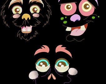 LIL MONSTER FACES - 30 Machine Embroidery Designs Instant Download 4x4 5x7 6x10 hoop (AzEB)