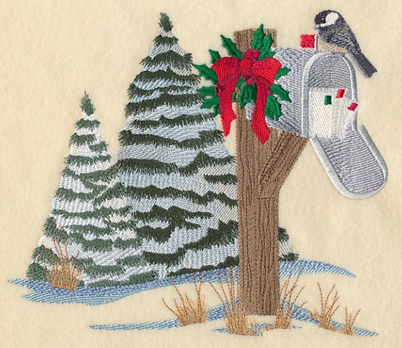 COUNTRY CHRISTMAS MAILBOX - Machine Embroidery Quilt Block (AzEB)