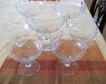 Vintage Crystal  Dessert/Fruit Bowls   Set of 8   Circa 1950s