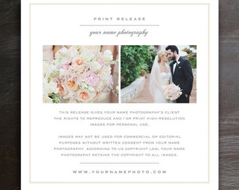 Wedding Photographer Licensing Forms - Print Release Template - Photo Marketing - Copyright Agreement for Photographers