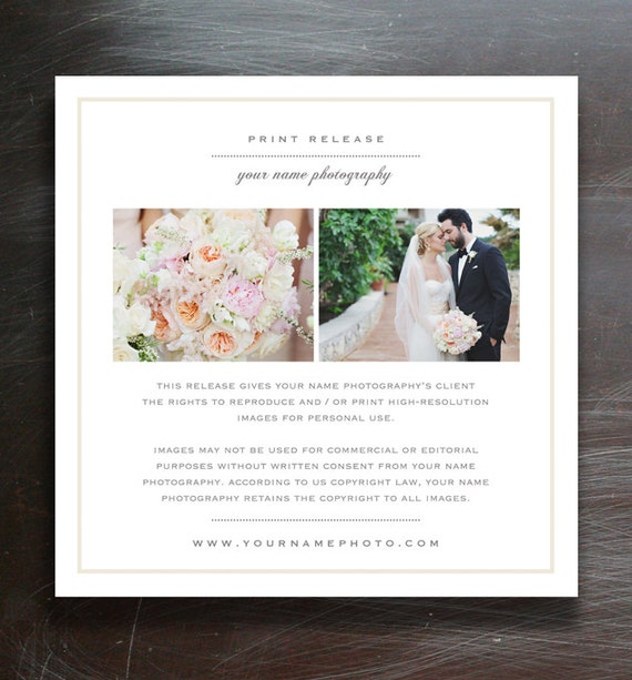 Wedding photographer licensing forms print release template for Wedding photo release form
