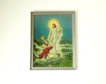 Stunning Antique Framed Print Entitled - Lord Help Me - Jesus Saves Peter from Drowning in the Sea