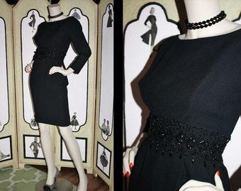 Vintage 60's Bead Encrusted Black Wiggle Dress. Small to Medium.
