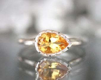 Sideswept Golden Citrine Sterling Silver Ring, Gemstone Ring, Milgrain Details Inspired, Teardrop Shape, Engagement Ring - Made To Order