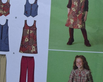 Simplicity 2484 Childs and Girl's Jumper, Vest, Jacket and Cropped Pants in sizes Girls 7,8,10,12,14 (uncut)