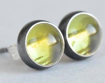 peridot 6mm sterling silver stud earrings pair