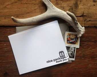 Nice Package thank you set of three letterpress cards