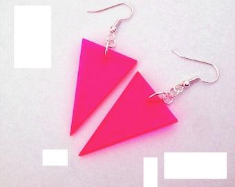 Neon Pink Dangle Earrings in Triangle Shape, Geometric Jewelry, Hot Pink Earrings