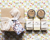 Gift set, bath + body set, 3 small cold process soaps, lip balm, hand + body salve, gift box, gift for her, spa + relaxation, all natural