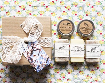 Bath + Body Gift Set // 3 small cold process soaps + lip balm + hand + body salve // gift box // spa + relaxation // all natural