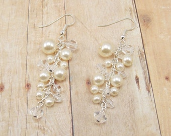 Earrings - Glass Pearl Cluster - Cream and Crystal Clear (or Choose Your Colors) - Wedding - Bridal - Bride - Bridesmaid
