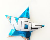 No5 Blue Energy Drink Ornament, Recycled Aluminum Can Star, Christmas,  White,
