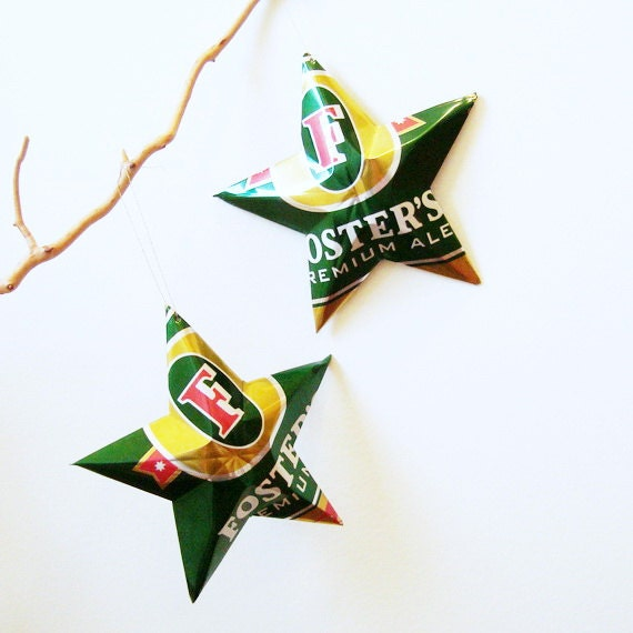 Fosters Ale Star Christmas Ornament Aluminum Can Upcycled