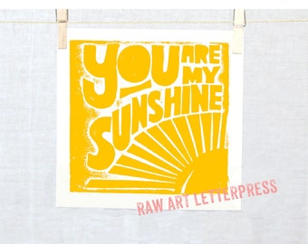 SUNSHINE Kitchen ARt Typography Baby Nursery Art Print You are my Sunshine Posters and Prints, Wall Art, Home Decor, Nursery Art Print