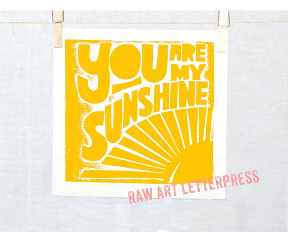 SUNSHINE Kitchen ARt Typography Baby Nursery Art Print You are my Sunshine Posters and Prints, Wall Art, Home Decor, Nursery Art Print