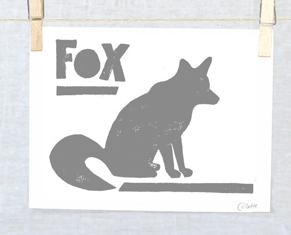 FOX  Woodland Fox, Silhouette, Cute Baby Nursery Art Print typography poster, SALE, Wall Art, Cute animal print