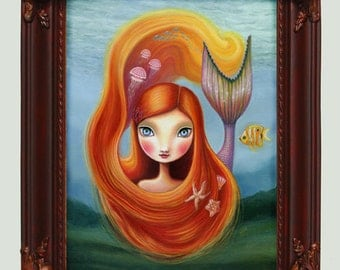 framed mermaid art prin11x14 mermaid girl and jellyfish seashells framed painting fox nautical fish hand painted frame  - by Marisol Spoon