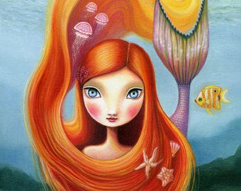mermaid girl art print jellyfish redhead big eye girl room wall decor - 8x10 premium matte paper - nautical pop surrealism by Marisol Spoon