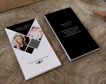 Karla double sided photography business card - Instant download