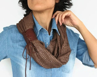 Brown Cowl Scarf, Chunky Infinity Collar Neck Warmer, Genuine Leather Accent, Handmade, Limited Production