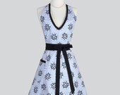 Sexy Womens Halter Apron . Elegant Gray and Black Print Cute Flirty Vintage Style Womens Full Hostess Apron