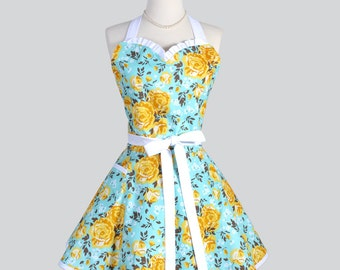 Sweetheart Retro Apron - Vintage Turquoise and Golden Rose Floral Full Kitchen Apron