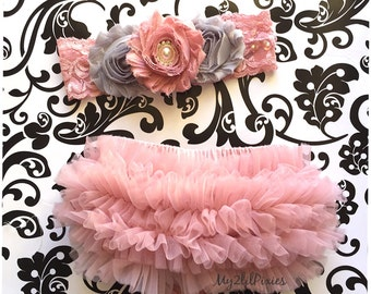 Ruffle bloomer and headband Set- Ruffle Bum Baby Bloomer and  Inspired Vintage Shabby Chic Flower headband,Lace headband,Vintage pink