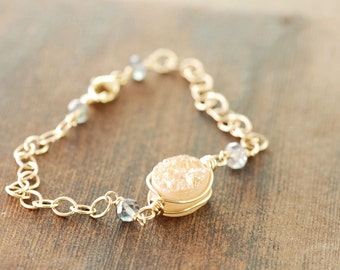 Peach Druzy Gold Bracelet with Teal Gemstone Accents, Druzy Bracelet, Boho Chic Jewelry