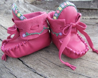 "Baby Moccasins By Desi, ""Flower Garden"", Beaded, Soft leather, 3-6 Months, Pink, Girl, Moccs, Boho, Hippie, First Easter Dress shoes, Infant"